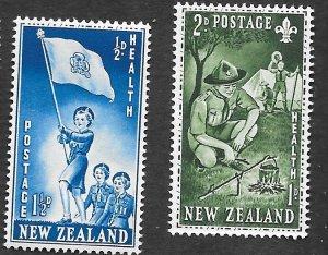 New Zealand Scott #B42-43 Semi Postal, Health, Scouts (1953) MNH