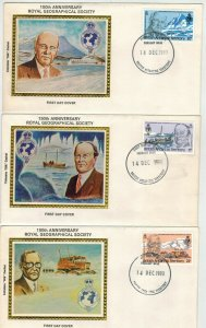 Colorano Silk BRITISH ANTARCTIC TERRITORY SET OF 6 FDCs Royal Geographical Soc.
