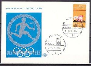 Germany, Scott cat. B485 value. Wrestling & Olympics cancel on a Card. ^