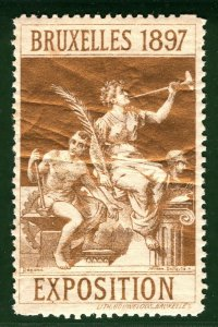 BRUSSELS EXHIBITION STAMP/LABEL Belgium 1897 Mint MM B2WHITE28
