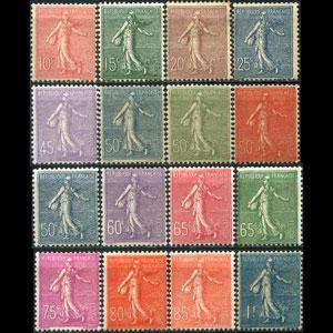 FRANCE 1903 - Scott# 138-54 Spwer missing 30c Set of 16 LH