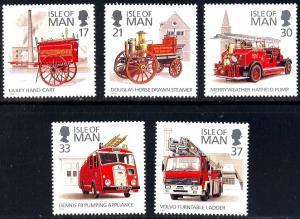 Isle of Man #477-481 MNH CV$4.55 Fire Engines Horse Pump Ladder