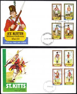 St. Kitts Sc# 67-74 FDC Set/2 1983 5.25 Military Uniforms