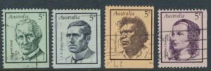 SG 432-435 Fine Used  Famous Australians  1st Series - various imperf margins