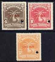 Honduras 1934 Telegraph set of 3 optd SPECIMEN each with ...