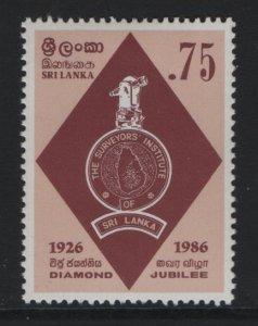 SRI LANKA, 810,  HINGED, 1986 Natl. Surveyors institute 60th anniv.