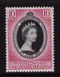 MALAYA NEGRI SEMBILAN Sc# 63 MH FVF QEII Coronation 10c
