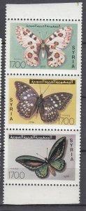 J28851, 1994 syria set strip/3 mnh #1318 butterflies