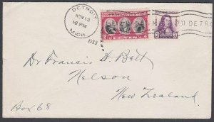 USA 1933 cover Detroit to New Zealand - 5c rate.............................J873
