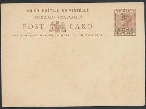 TOBAGO QV HALF-PENNY on 1½d postcard fine unused,..........................49894