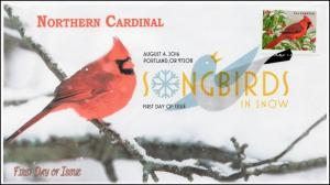 2016, Songbirds in Snow, Northern Cardinal, DCP, FDC, 16-245