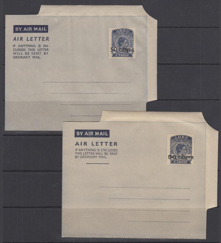 Aden H&G FG4, FG5 mint 1952 50c on 6a KGVI Aerogrammes, both surcharge types