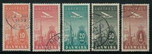 Denmark #C6-10 CV $46.90 Early airmail postage stamps, Complete set used