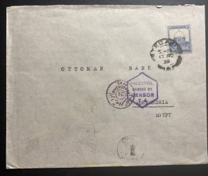 1939 Tel Aviv Palestine Airmail Censored Cover To Ottoman Bank Alexandria Egypt
