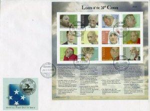 MICRONESIA 2000 LEADERS OF 20th CENTURY GANDHI POPE JPII ML KING JR SHEET FDC