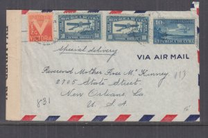 HAVANA,1942 Airmail Special Delivery Censored cover to USA, 1/2c, 10c, SD 10c(2)