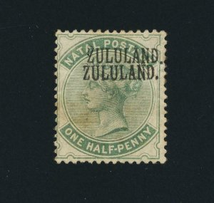 ZULULAND 1888, ½d DOUBLE OVERPRINT, USED SG#12a CAT£1100 (SEE BELOW)