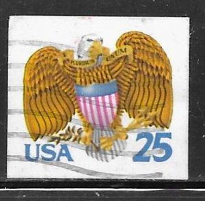 USA 2431: 25c Eagle and shield, booklet single, used, VF