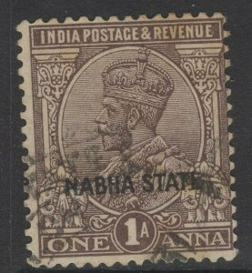 INDIA-NABHA SG62 1927 1a CHOCOLATE USED