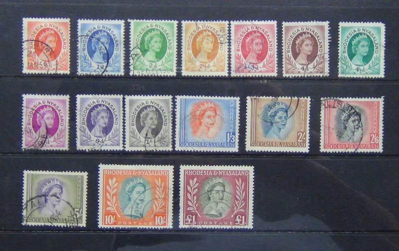 Rhodesia & Nyasaland 1954 - 1956 set to £1 Fine Used SG 1 - 15