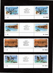 Anguilla 1985 Sc 640-3 MNH Commemorative Perforate Gutter Pairs (4)