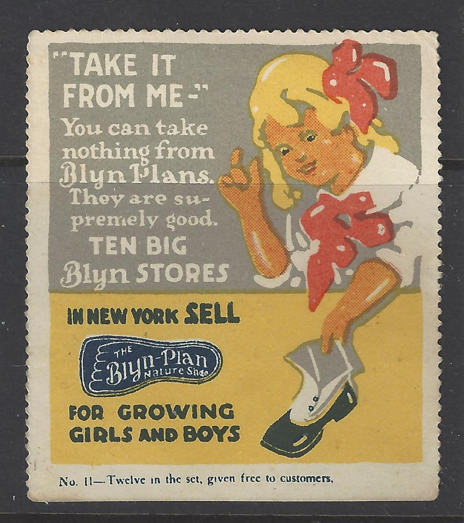 Early 1900s Blyn Plan Shoe Stores NYC Advertisement Poster Stamp