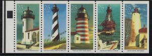 1990 Lighthouses Sc 2474a never folded pane, plate no. 2 CV $11.50