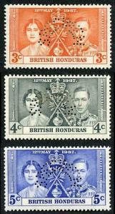 British Honduras SG147s/9s 1937 Coronation Perf SPECIMEN M/M (hinge remainder)