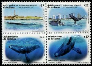 HERRICKSTAMP URUGUAY Sc.# 2351 Whales Stamp Block of 4