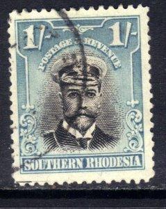 Southern Rhodesia 1924 - 29 KGV 1/-d Light Blue & Black used SG 10 ( D1291 )