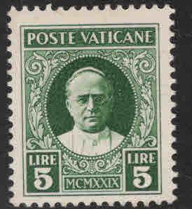 Vatican City Scott 12 MNH** 1929 Pope Piux XI  stamp