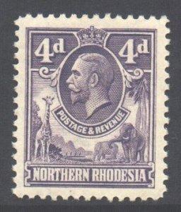 Northern Rhodesia Scott 6 - SG6, 1925 George V 4d MH*