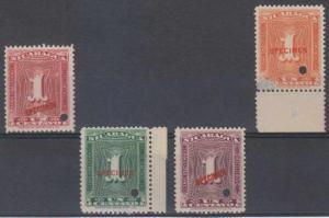 NICARAGUA 1928-37 Sc RA37 & RA41-RA43 FULL SET OVPTD SPECIMEN MNH