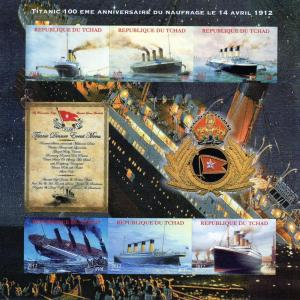 Chad 2012 Titanic Disaster 100th.Ann. Shlt(6) Imperforated