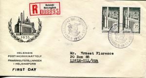 Finland scarce 1955  Registered Frst Day cover to USA B/S   VF