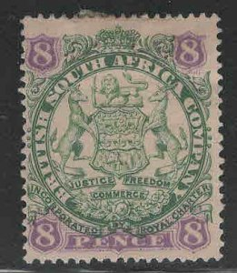 Rhodesia Scott 32 MH* coat of arms stamp Die 1 Hinge Remnant in gum