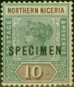 Northern Nigeria 1900 10s Green & Brown Specimen SG9s Fine Mtd Mint