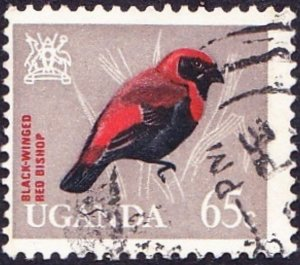 UGANDA QEII 1965 65c Orange-Red, Black & Light Grey SG120 Used