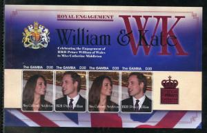 GAMBIA ENGAGEMENT OF PRINCE WILLIAM & KATE MIDDLETON  IMPERF SHEET I   MINT NH