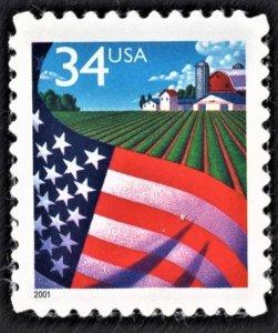 US 3470 MNH VF 34 Cent Flag Over Farm