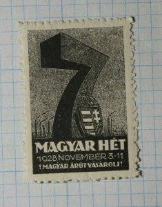 Maygar Ret Hungarian Week 1928 Hungary Philatelic Souvenir Ad Label MNH
