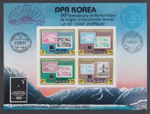 DPRK North Korea, Sc 1989a MNH. Essen Stamp Fair IMPERF s/s, German Zeppelin sta