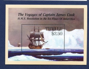 TUVALU  - Scott 496  - FVF MNH  S/S - Captain Cook, Ship - 1988
