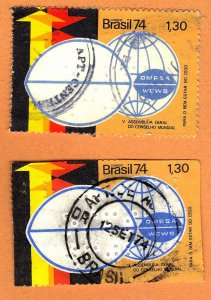 BRAZIL SC# 1357 **USED** 1.30cr 1974  CONGRESS EMBLEM    SEE SCAN