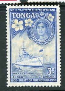 TONGA; 1951 early Treaty issue fine Mint hinged 3d. value