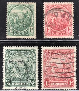 Barbados Scott 153, 154, 166a, 167a  wtmk 4  F to VF used.