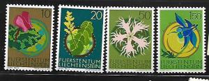 LIECHTENSTEIN, 481-484, MNH, FLOWER TYPE 1970