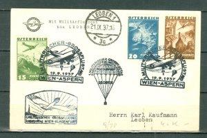AUSTRIA 1937... #C34-35 & #C41 on MILITARY AIR CARD VIENNA - ASPEN...NICE CACHET