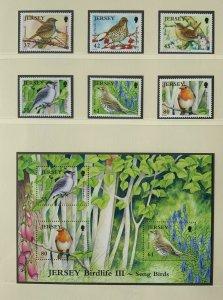 JE110) Jersey 2009 Birdlife Part III - Song Birds (6) + M/S MUH