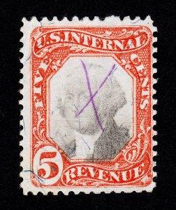U.S. SCOTT #R137 INTERNAL REVENUE 5¢ USED 1871-1874